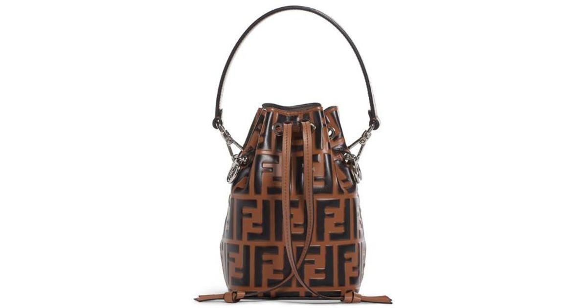 fe5e03bcc1f5f Lyst - Fendi Mon Tresor Logo Leather Bucket Bag in Brown