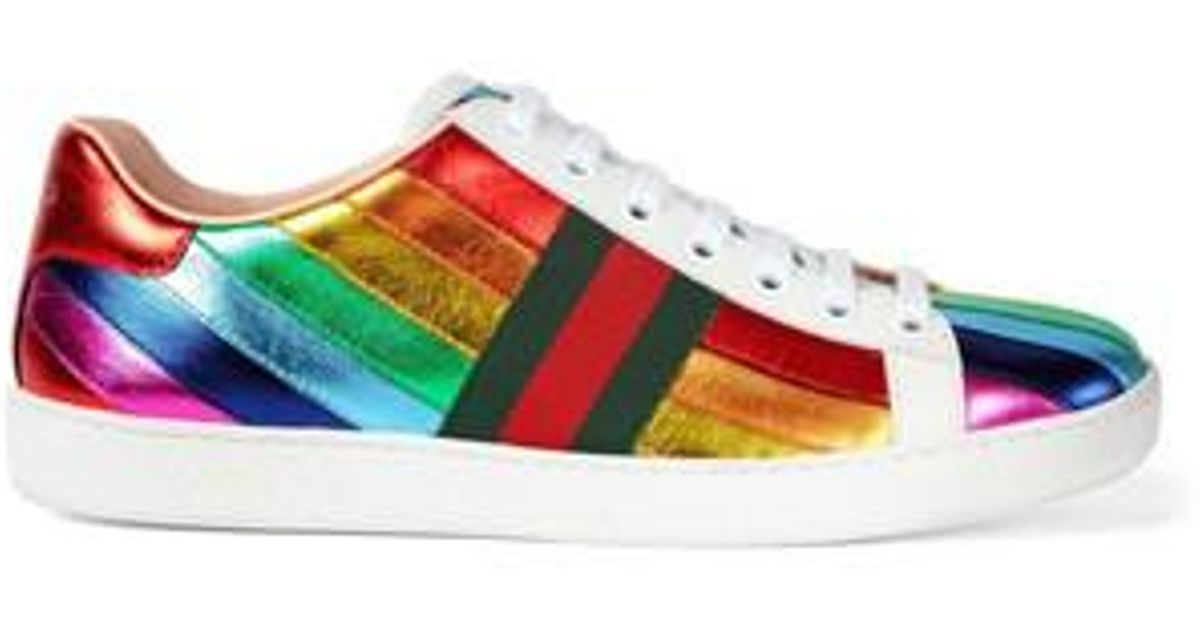 a167e0a78c7 Lyst - Gucci New Ace Rainbow Sneaker