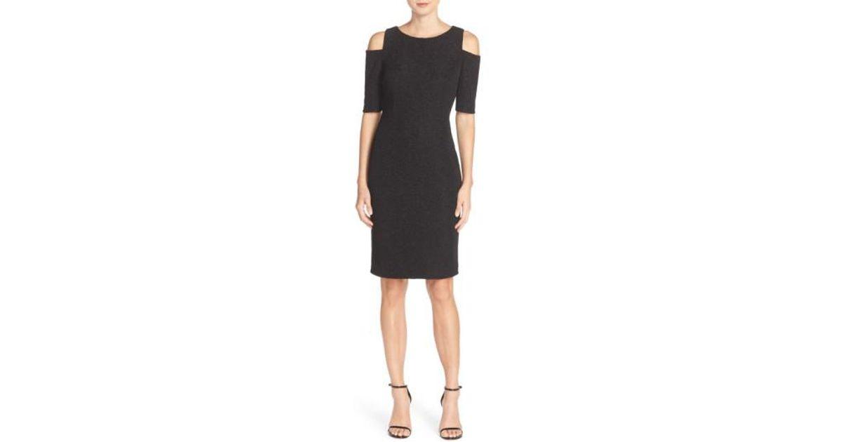39f531e7eef Lyst - Eliza J Cold Shoulder Sparkle Knit Sheath Dress in Black
