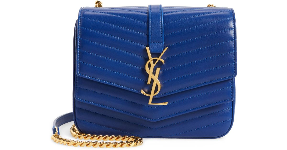 13e972457f Lyst - Saint Laurent Montaigne Quilted Lambskin Crossbody Bag in Blue