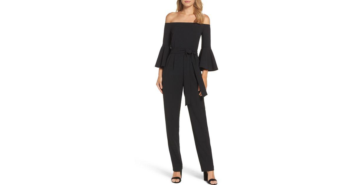 b1b12e3776d8e Lyst - Eliza J Off The Shoulder Bell Sleeve Slim Leg Jumpsuit in Black