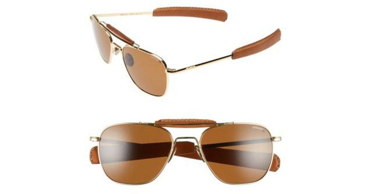 0fdcb3ea15b Lyst - Randolph Engineering  aviator Ii  Polarized 55mm Sunglasses - 23k  Gold  Tan in Metallic for Men