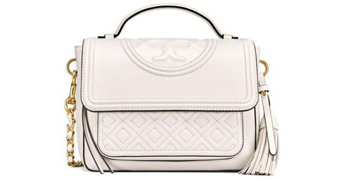 c8e8b177dbf7 Lyst - Tory Burch Fleming Quilted Leather Top Handle Satchel