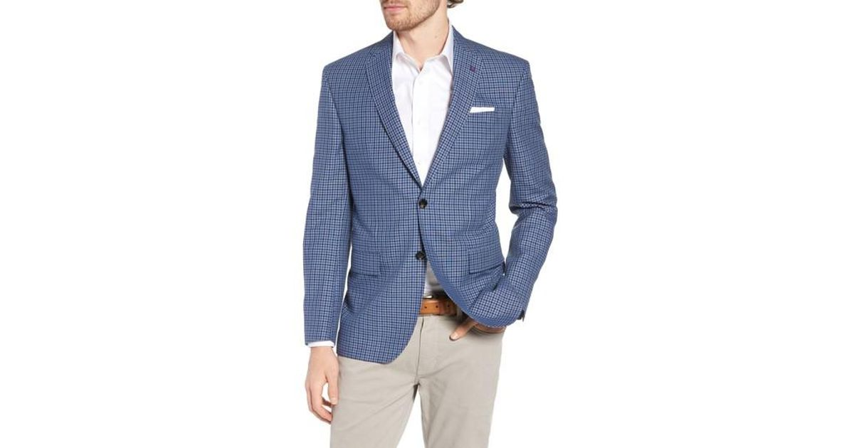 d923fd8c0750 Ted Baker Jay Trim Fit Check Wool & Linen Sport Coat in Blue for Men - Lyst