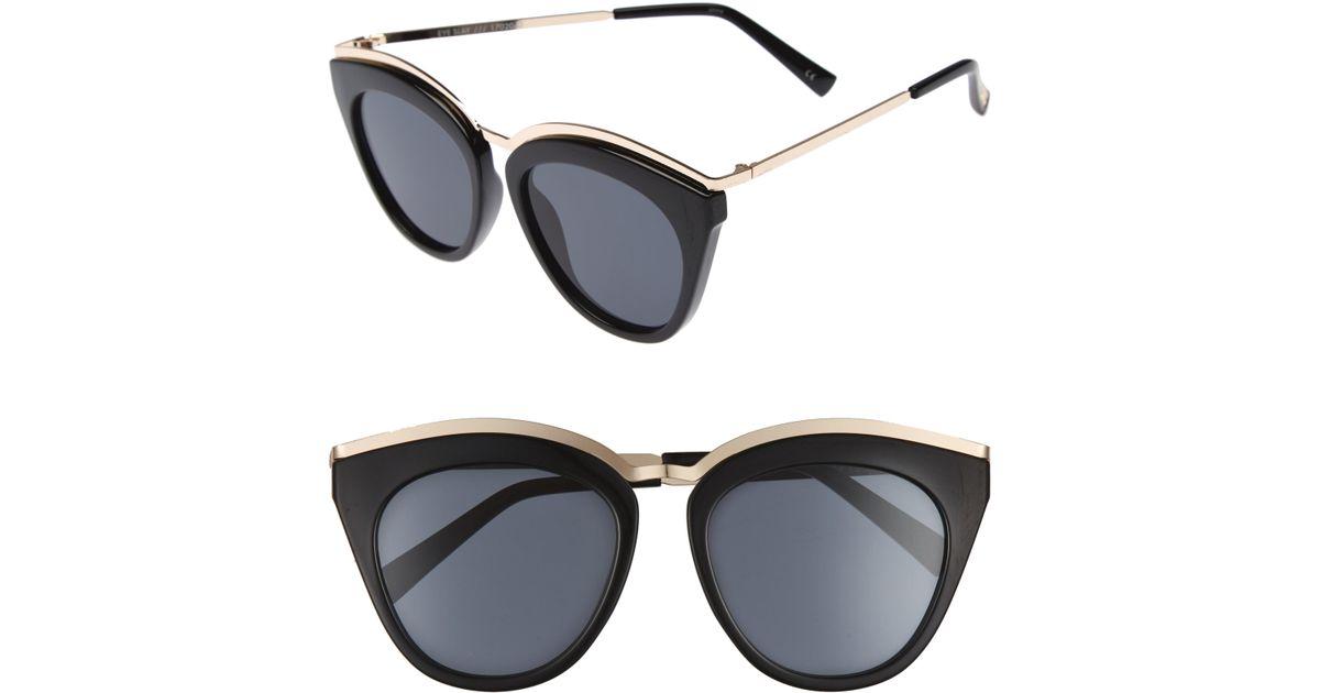 b92c64d08b2c1 Lyst - Le Specs Eye Slay 52mm Cat Eye Sunglasses in Black