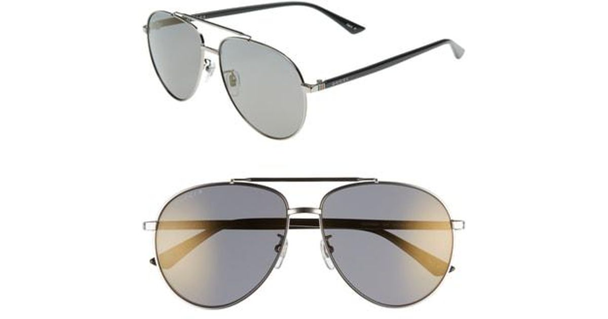 1df17c43babd0 Lyst - Gucci 61mm Polarized Aviator Sunglasses - Shiny Ruthenium in  Metallic for Men