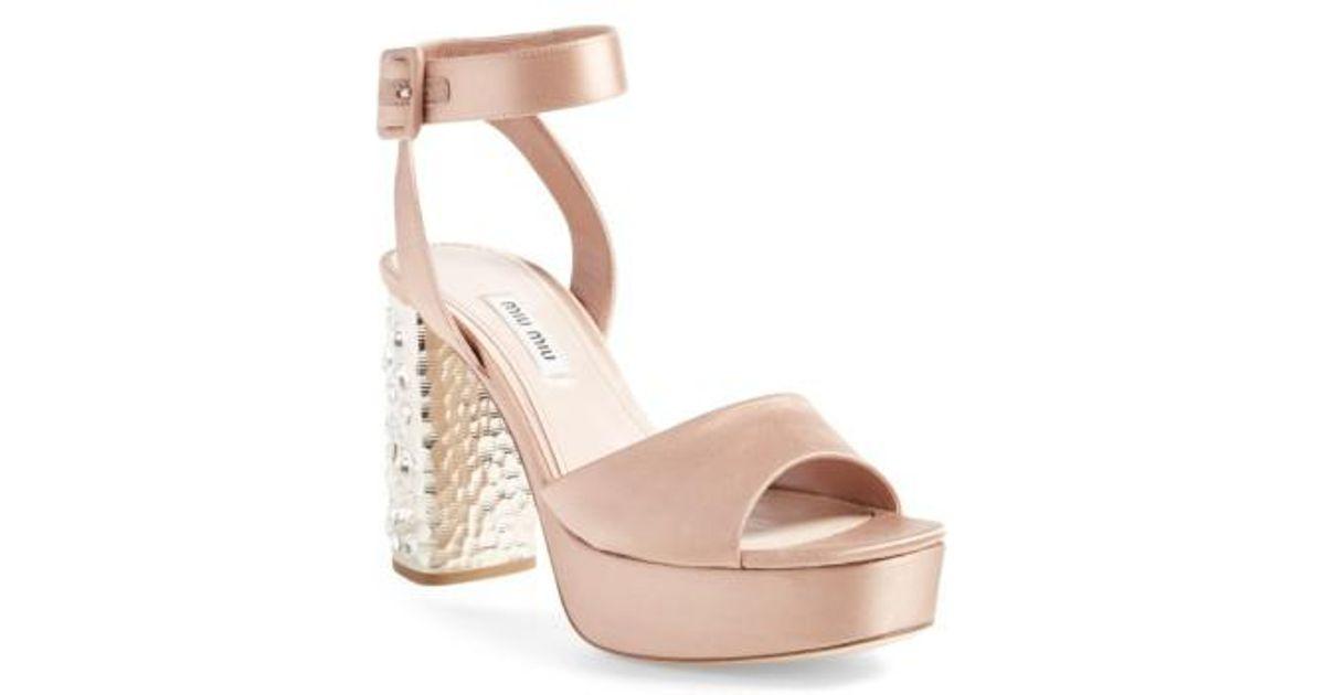 af401bd2276 Lyst - Miu Miu Studded Block Heel Platform Sandal in Natural