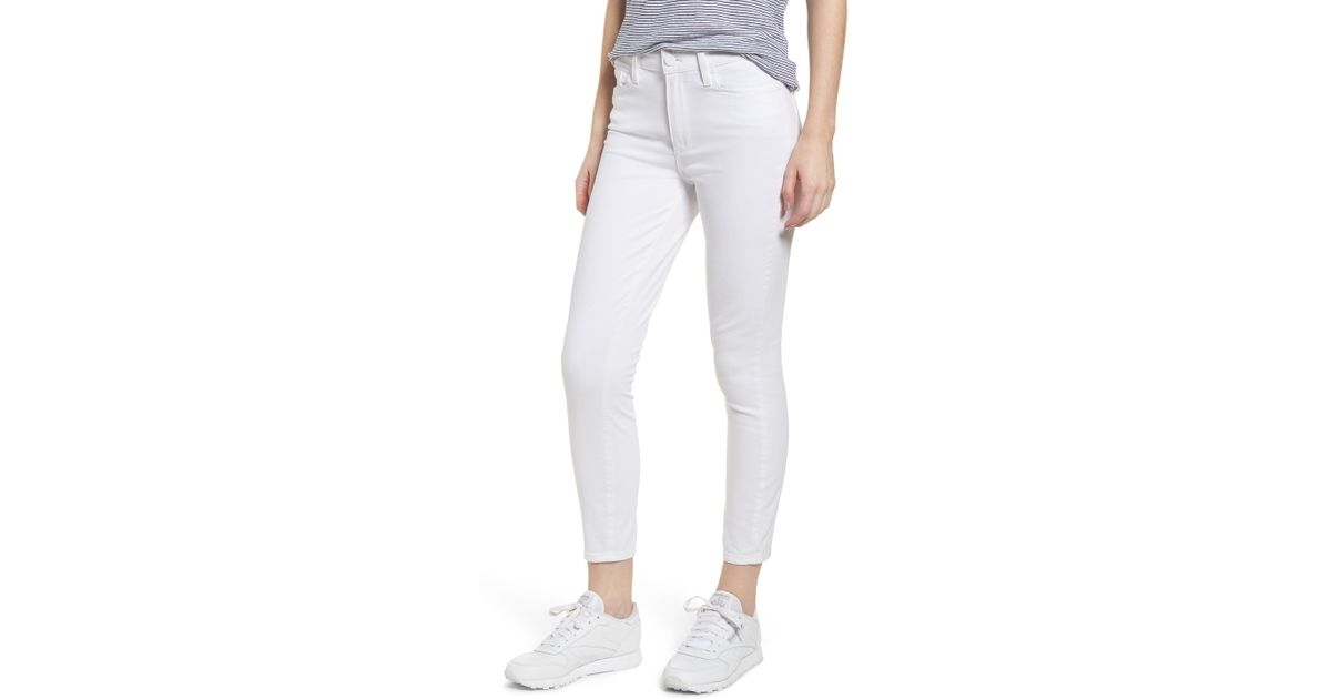 2966a4c72 Lyst - PAIGE Hoxton High Waist Crop Skinny Jeans in White