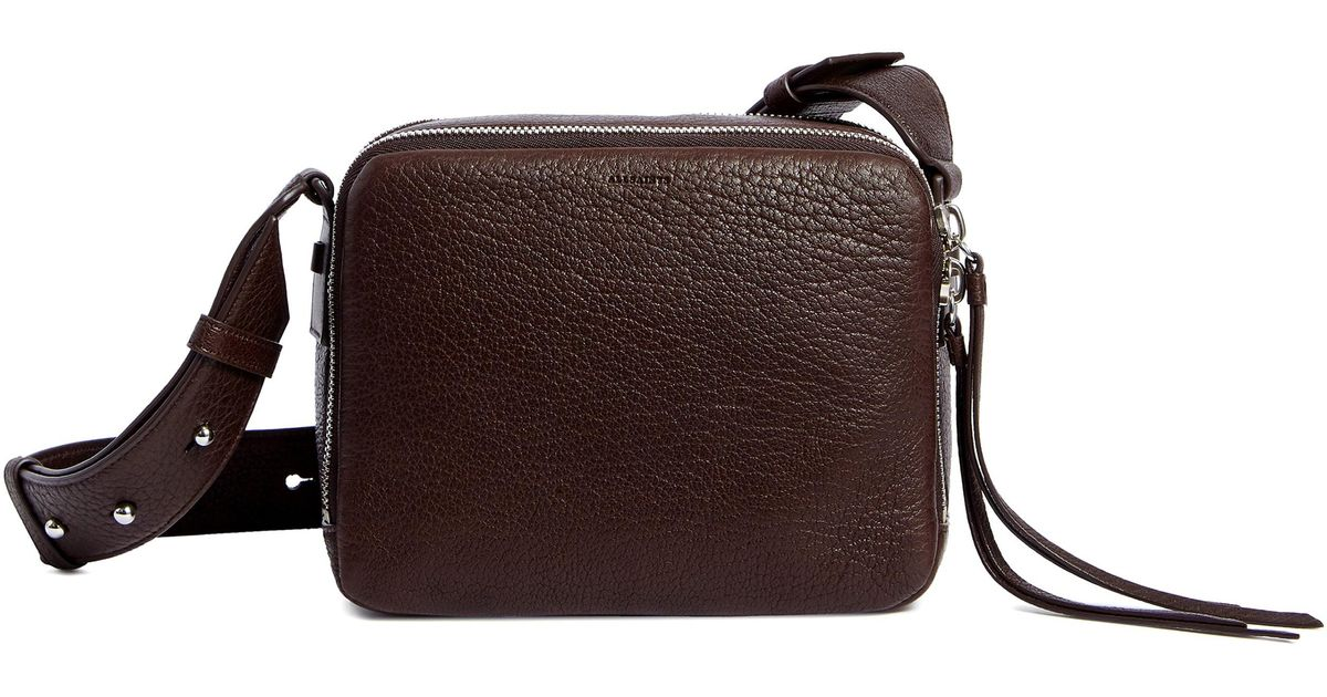 749753d8eeee Lyst - AllSaints Vincent Leather Crossbody Bag - Burgundy