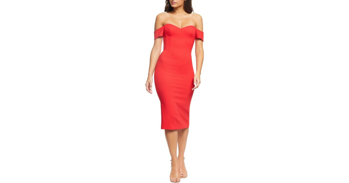 a0c53219 Dress the Population Bailey Off The Shoulder Sweetheart Bodycon Midi Sheath  Dress in Red - Lyst