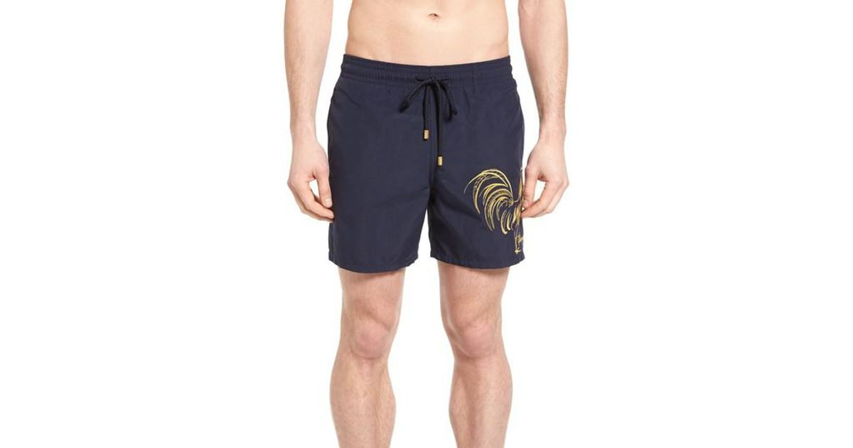 be7d9011c0 Vilebrequin Motu Embroidered Rooster Swim Trunks in Blue for Men - Lyst