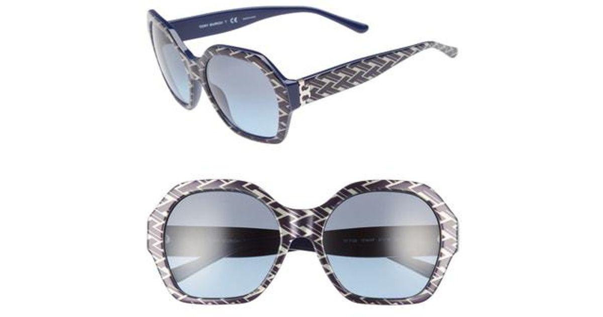 43425564bb82 Lyst - Tory Burch Serif T 57mm Hexagonal Sunglasses - Navy Pattern Gradient  in Blue