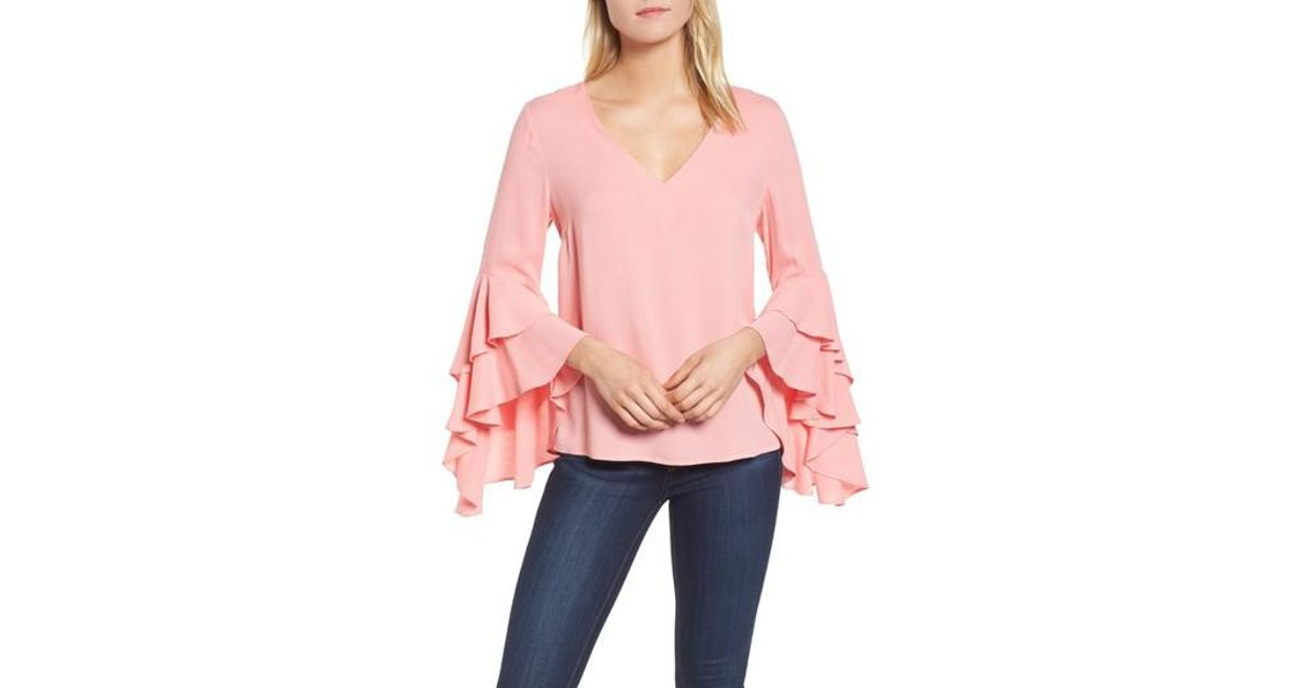 51c417985289d1 Lyst - Chelsea28 Bell Sleeve Top in Pink
