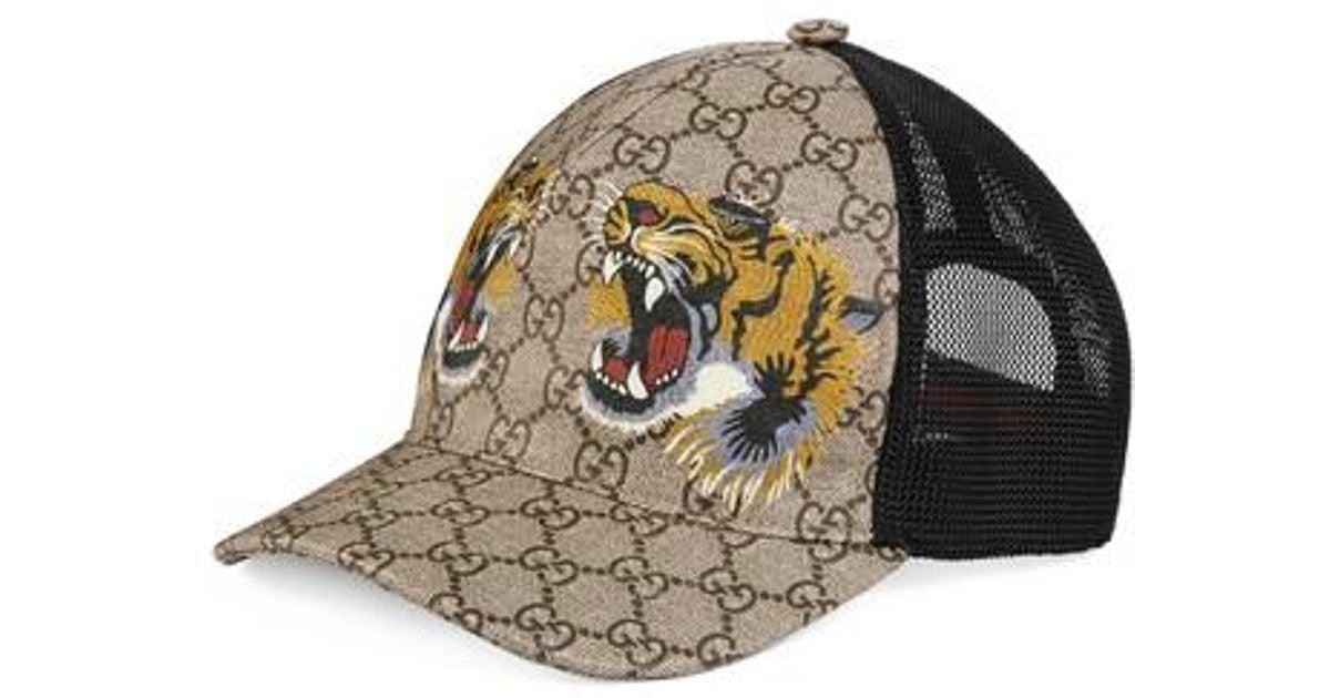 cdf51810ed238 Gucci Tiger Logo Print Baseball Cap - for Men - Lyst