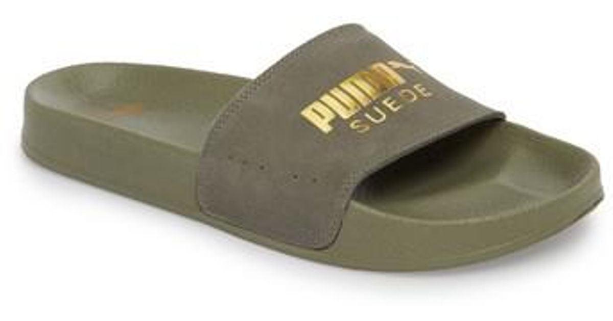 39c7a640b0ba ... cheap lyst puma leadcat suede slide sandal in gray for men 67d28 f94dd
