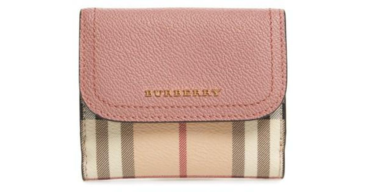 470e9560f83 Lyst - Burberry Luna French Haymarket Check Wallet in Pink