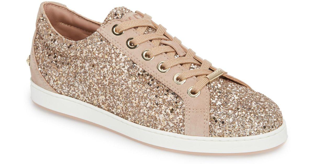 7655b151d440 Lyst - Jimmy Choo Cash Glitter Sneaker in Pink