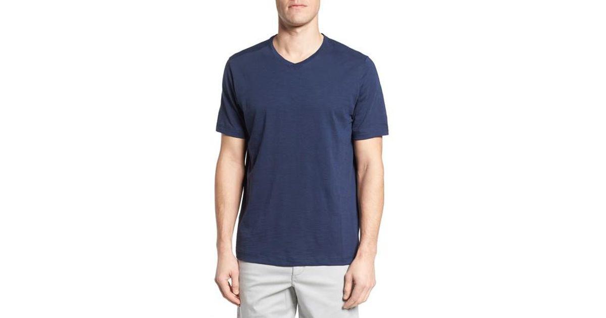 Tommy bahama portside palms v neck t shirt in blue for men for Tommy bahama florida shirt