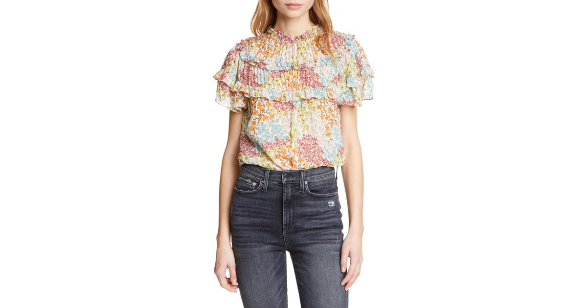 26dc727f07893 Lyst - Rebecca Taylor Ava Floral Ruffle Detail Silk   Cotton Top in Blue
