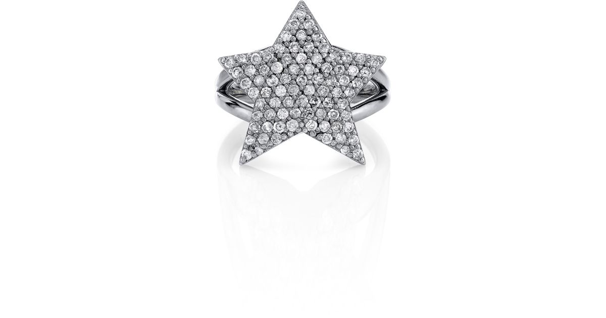 1b4f3f186 Sheryl Lowe Pavé Diamond Star Ring in Metallic - Lyst