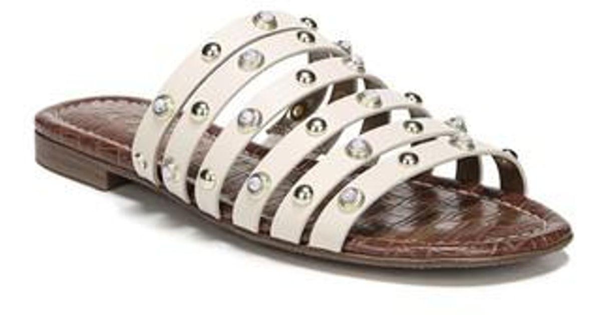 4dd41c1fb277 Lyst - Sam Edelman Brea Studded Slide Sandal in White