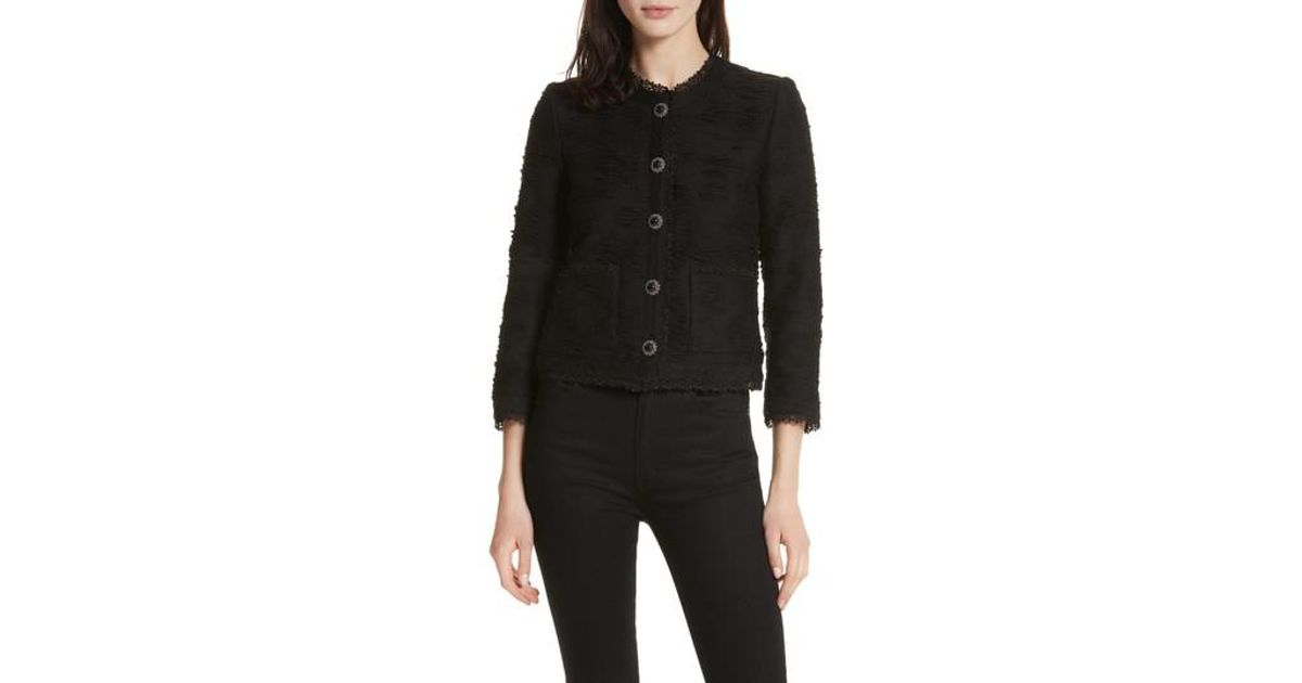 ca0709b560 The Kooples Lace Trim Boxy Jacket in Black - Lyst