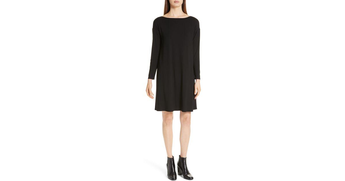 375ea046c72c Lyst - Eileen Fisher Bateau T-shirt Dress in Black