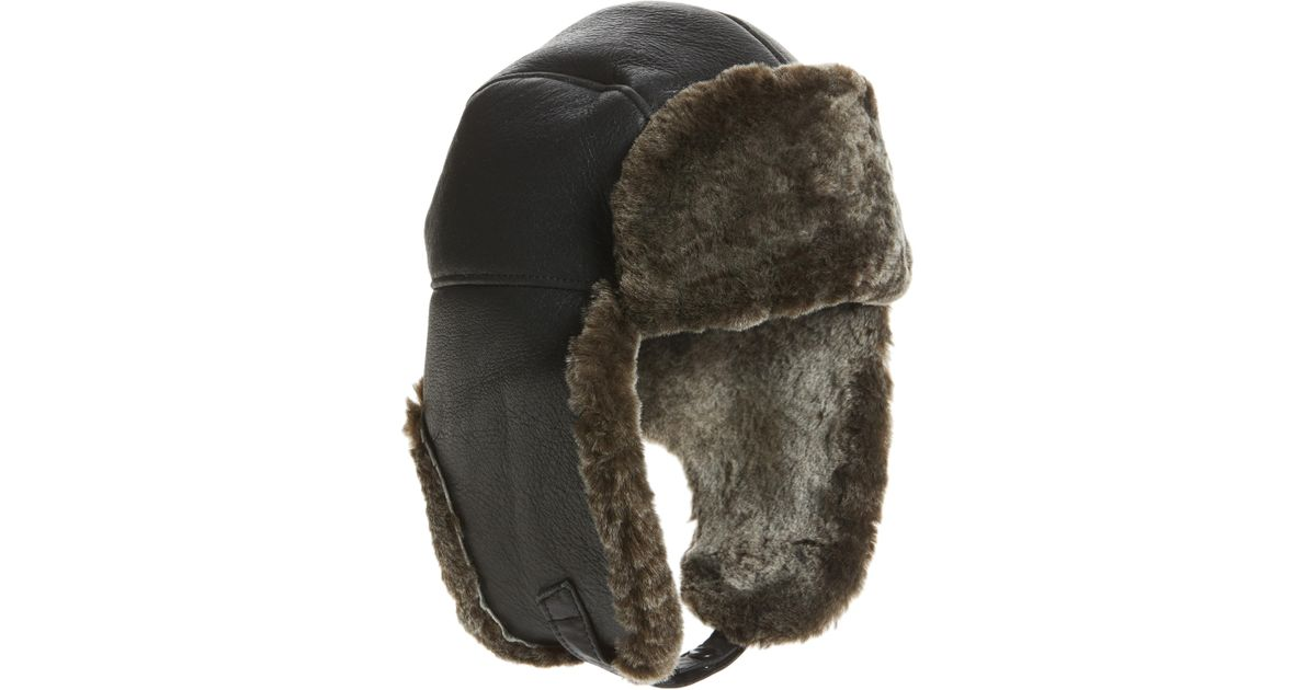 458b1360f71 Lyst - Crown Cap Genuine Shearling Leather Trapper Hat in Gray for Men