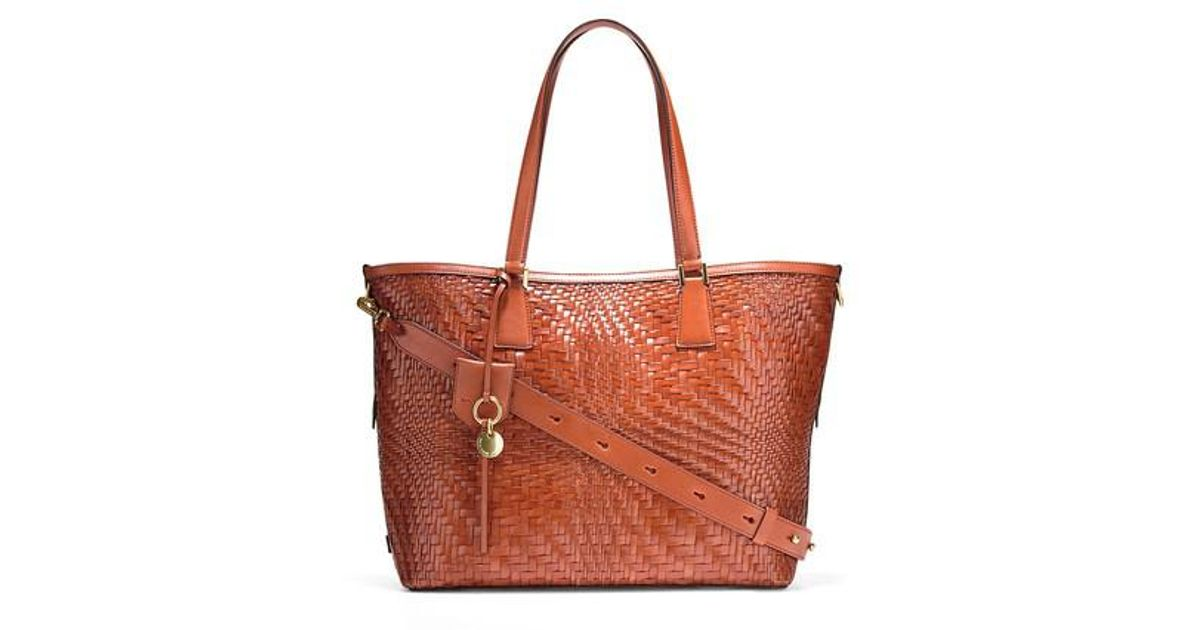 0622eafb20 Lyst - Cole Haan Genevieve Key Item Woven Leather Tote in Red