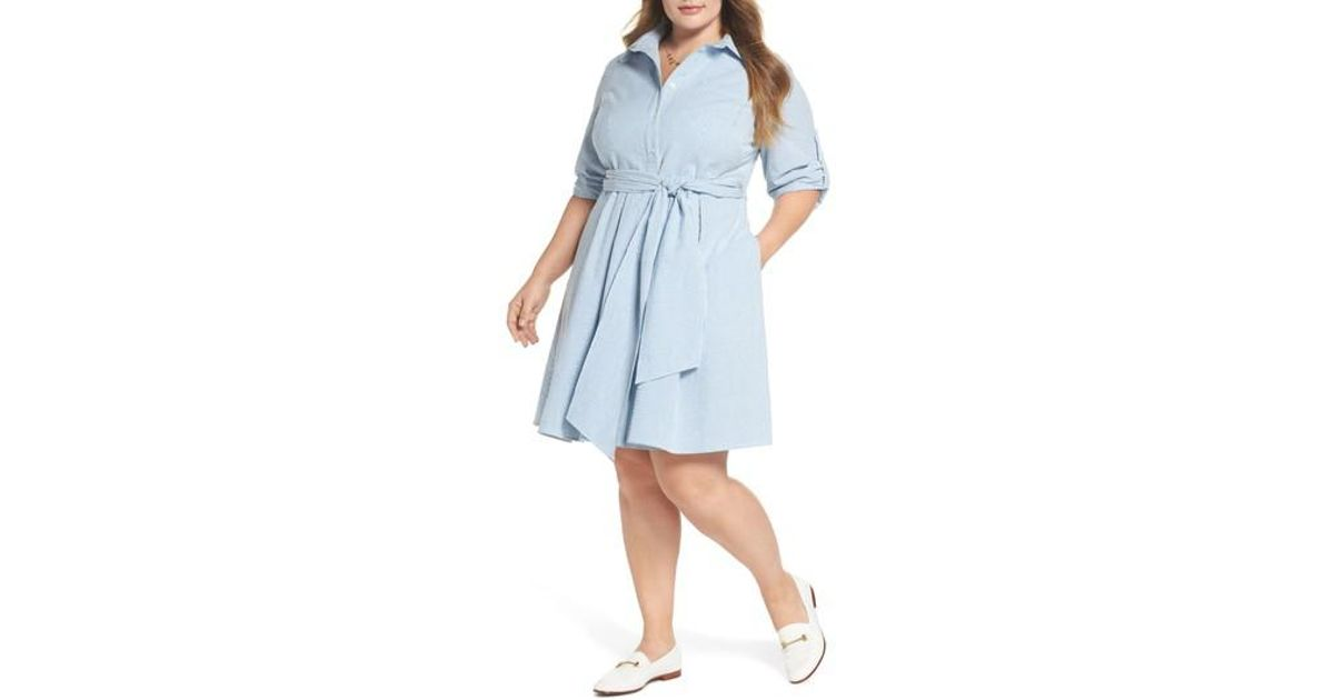 ade92a199be5e Nordstrom 1901 Seersucker Shirtdress in Blue - Lyst