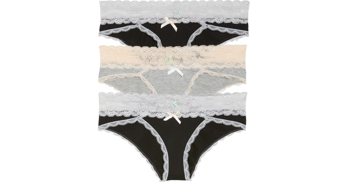 7a939fd35e52 Lyst - Honeydew Intimates 3-pack Hipster Panty, Black in Black