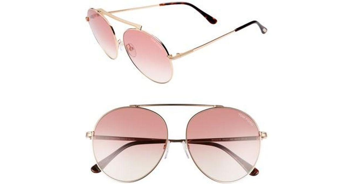 4dfc9f588b9b Lyst - Tom Ford 58mm Gradient Mirrored Round Sunglasses in Pink