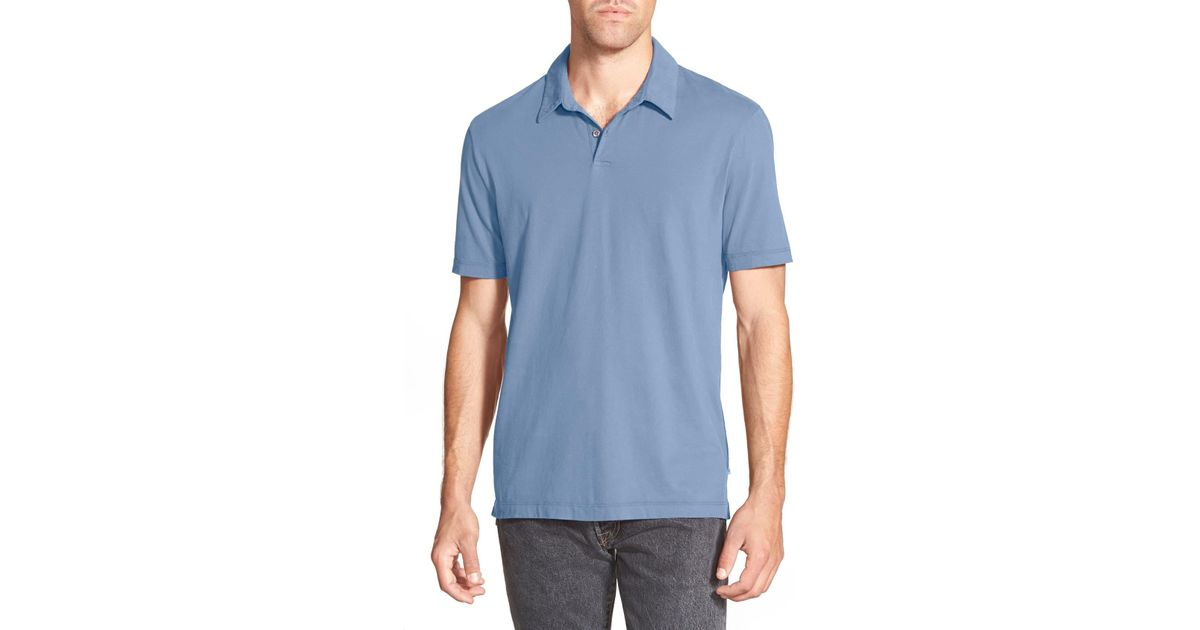 ec60c552757 James Perse Slim Fit Sueded Jersey Polo in Blue for Men - Lyst