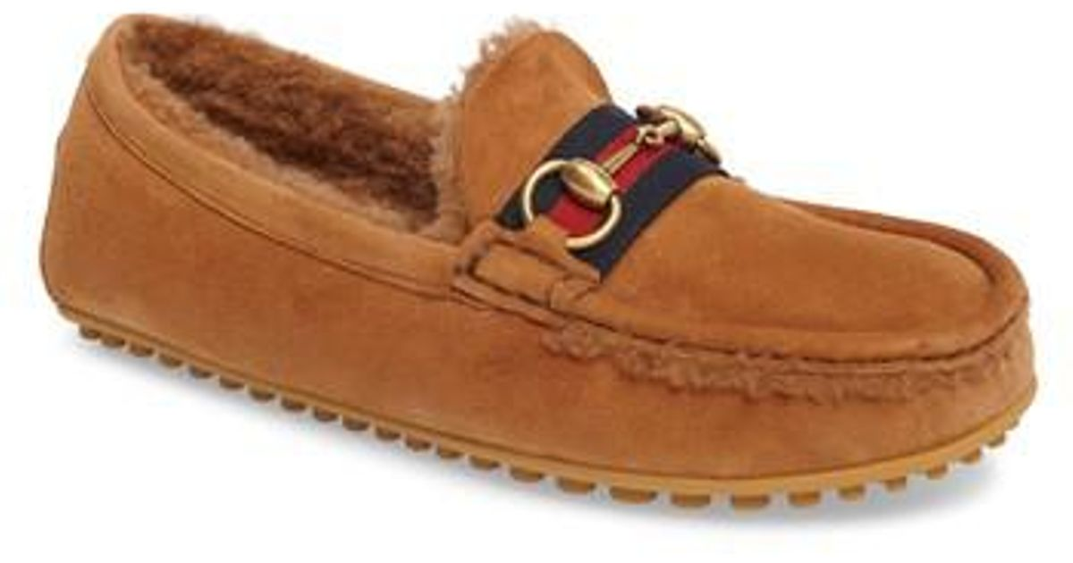 4e821934667 Lyst - Gucci Kanye Driving Shoe With Genuine Shearling in Brown for Men