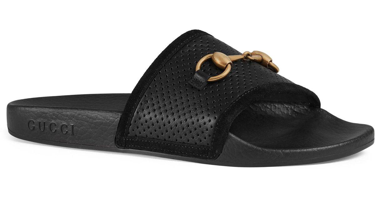 84c58b19c4ec4a Lyst - Gucci Pursuit Horsebit Slide Sandal in Black