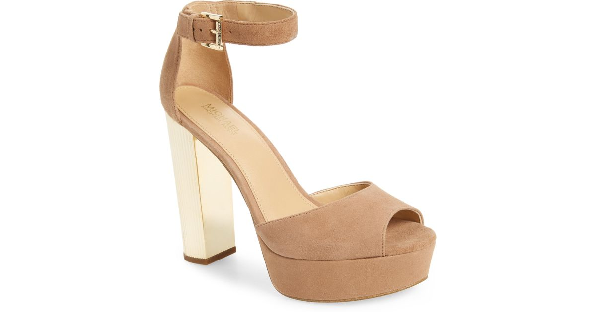 da6605f21d09 Lyst - MICHAEL Michael Kors Paloma Metallic Heel Platform Sandal in Black