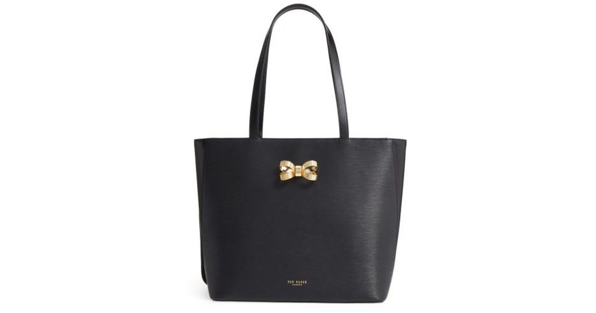0346fef071 Ted Baker Larah Looped Bow Leather Shopper in Black - Lyst