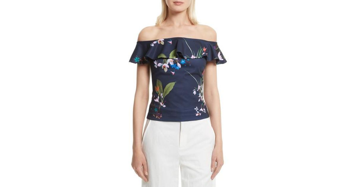 775d7f41f902b Lyst - Ted Baker Imygen Off The Shoulder Top in Blue