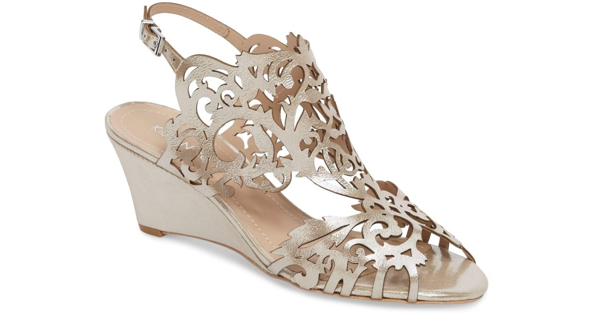 f5659c93f Klub Nico Marcela Laser Cutout Wedge Sandal in Metallic - Lyst