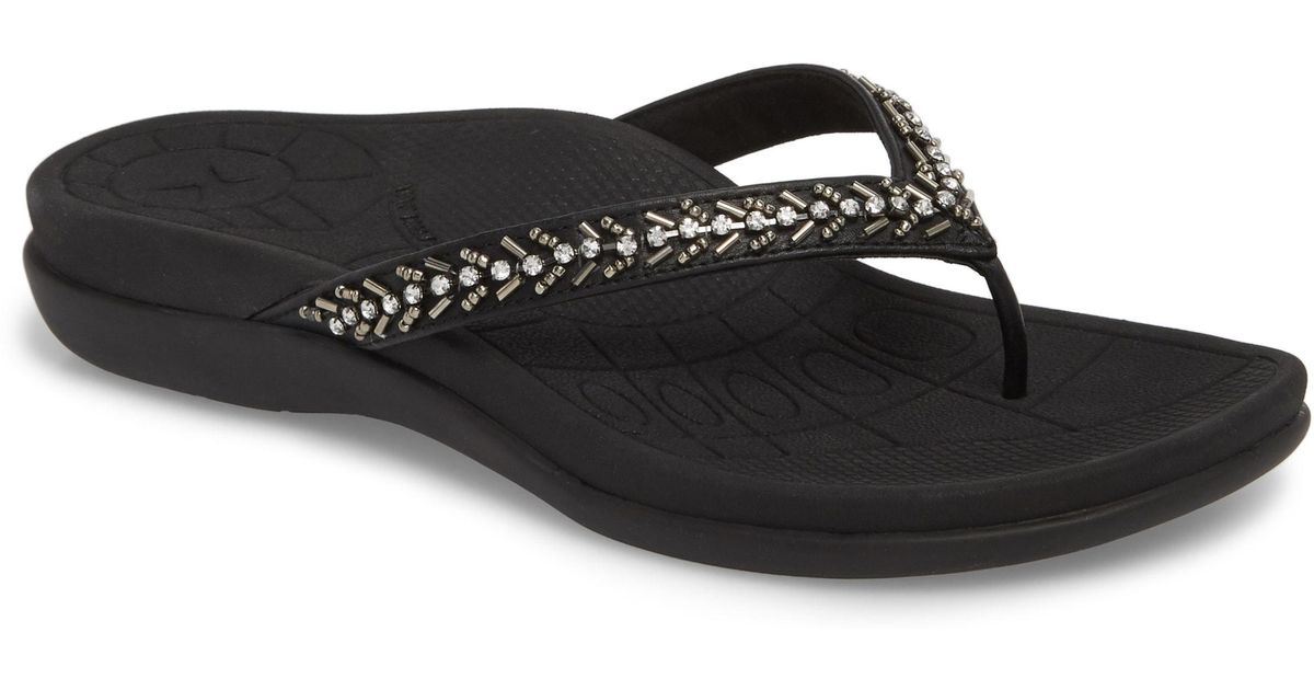 b531cd786c072a Lyst - Aetrex Jules Crystal Embellished Water Friendly Flip-flop in Black