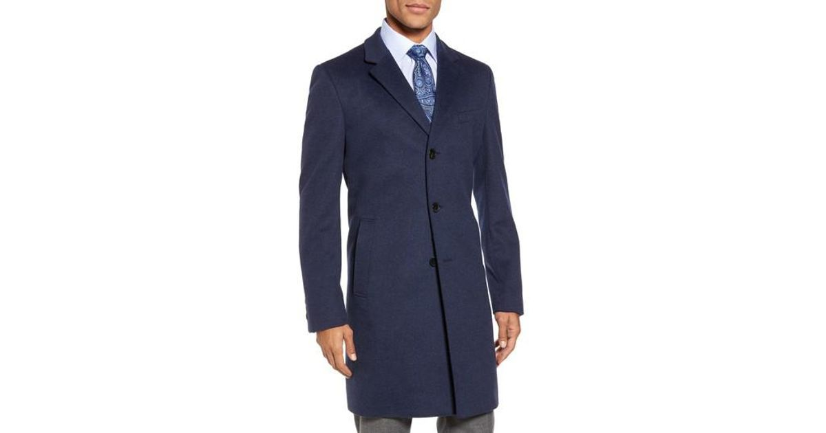 496f61ccc889 Lyst - BOSS Boss Nye Wool   Cashmere Topcoat in Blue for Men