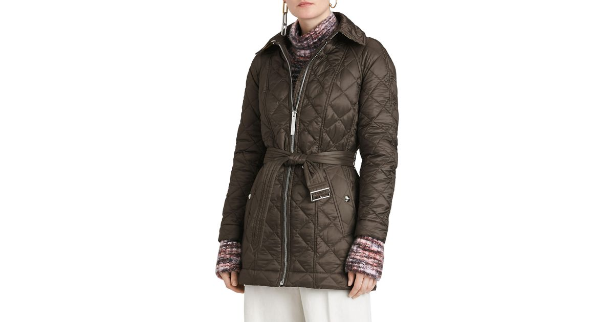 11011d5226ab Lyst - Burberry Baughton 18 Quilted Coat in Gray