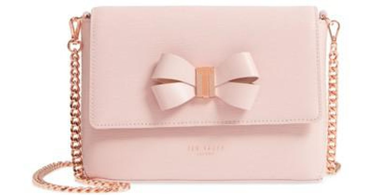 d5680a6e8977 Lyst - Ted Baker Bowii Bow Mini Bark Leather Crossbody Bag in Pink