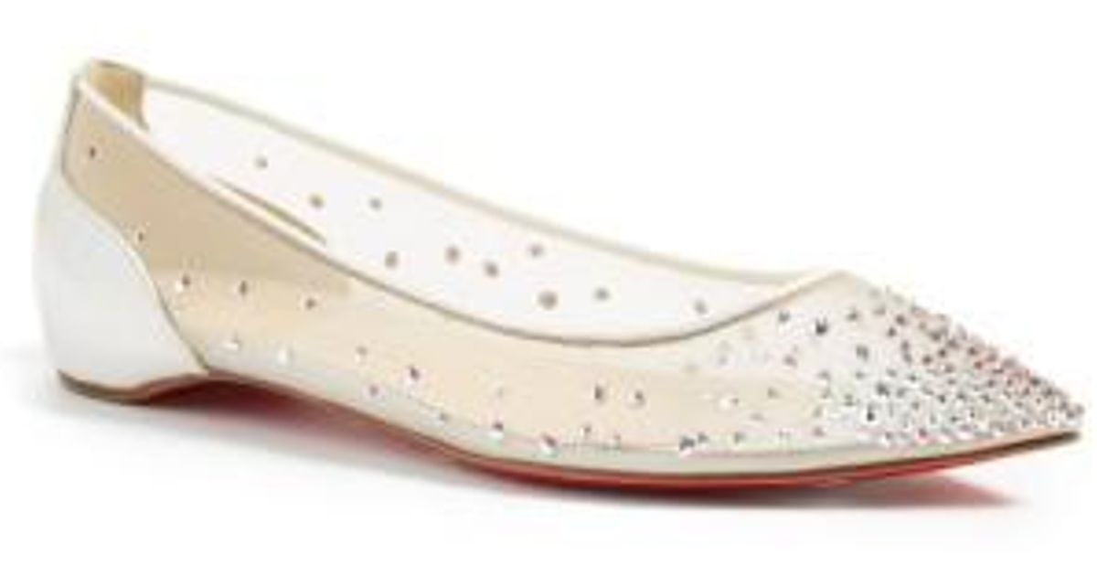 7720cfd1afc8 ... authentic lyst christian louboutin follies strass pointed toe flats in  white 97988 12a07