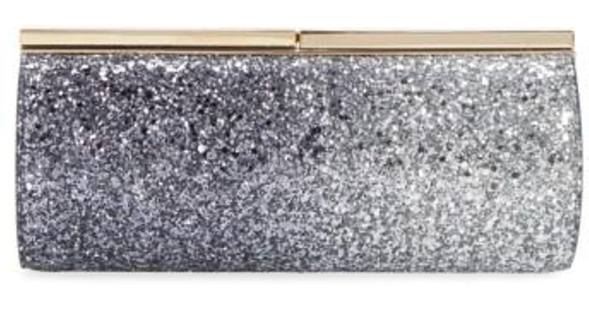 fa5b53a040 Lyst - Jimmy Choo 'trinket' Glitter Clutch in Metallic
