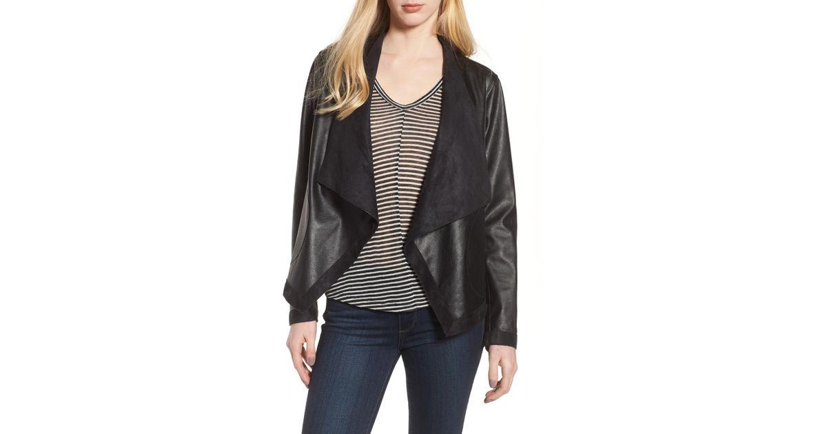80e5597ac BB Dakota - Black Teagan Faux Leather Drape Front Jacket - Lyst