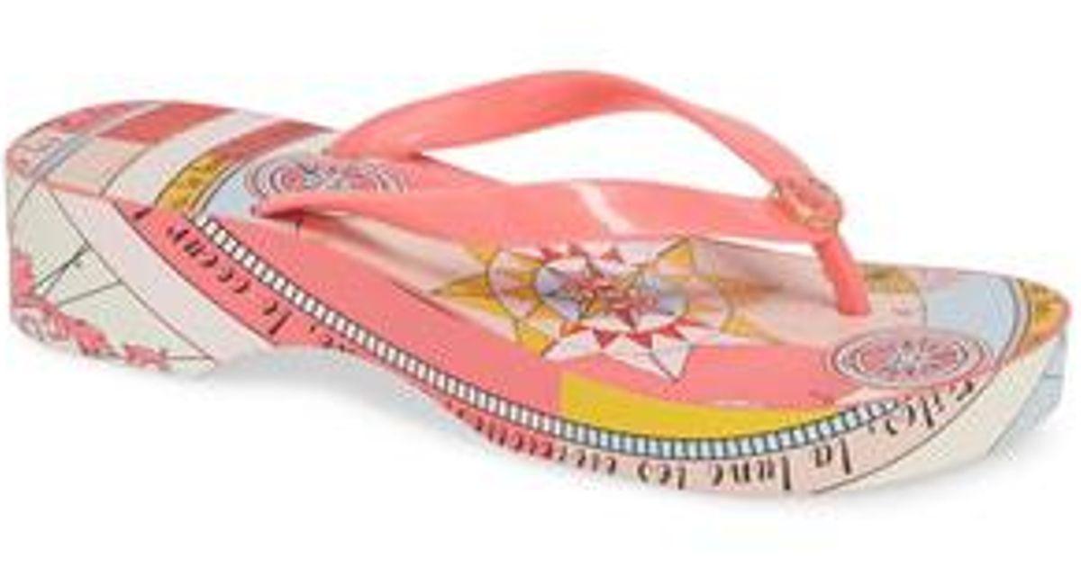 72e0d21f6e38 Lyst - Tory Burch Wedge Flip Flop in Pink
