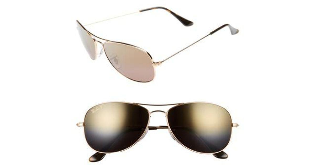 19fecef0b2 Lyst - Ray-Ban 59mm Polarized Aviator Sunglasses - Shiny Gold brown Mirror  Gold in Metallic