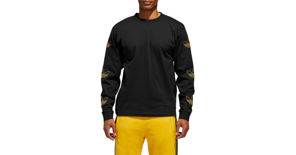 c9f521e7 adidas Originals Embroidered Trefoil Long Sleeve T-shirt in Black for Men -  Lyst