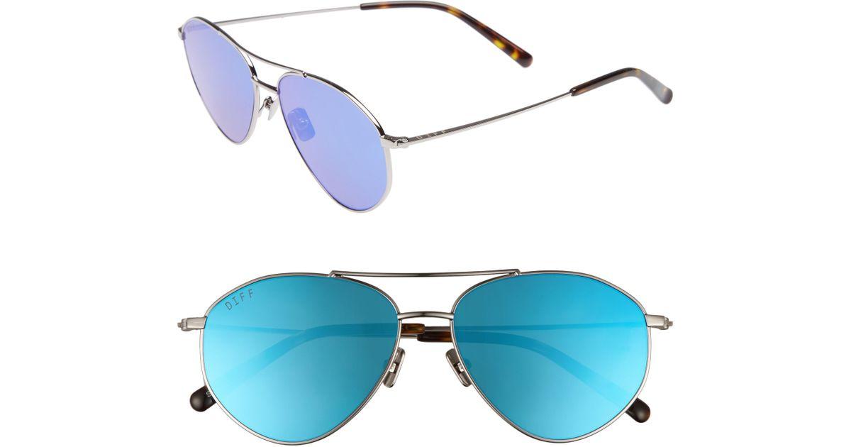 adf88708e360a Lyst - DIFF Scout 53mm Aviator Sunglasses - Light Gunmetal  Ice Blue in Blue